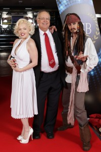Tony Rundle with Marilyn Monroe and Captain Jack Sparrow at the FSB Dinner in Leicester